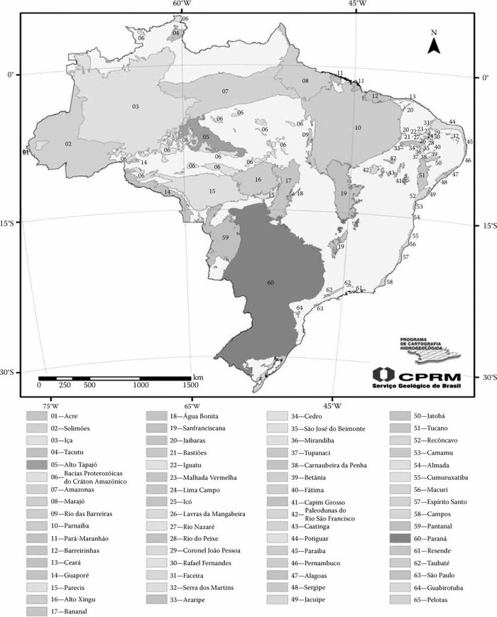 Basins and sedimentary covers of Brazil. (Modified from Diniz, J. A. O. et al. 2014. de, Mapa hidrogeológico do Brasil ao milionésimo: Nota técnica. Recife: CPRM—Serviço Geológico do Brasil, Recife.)