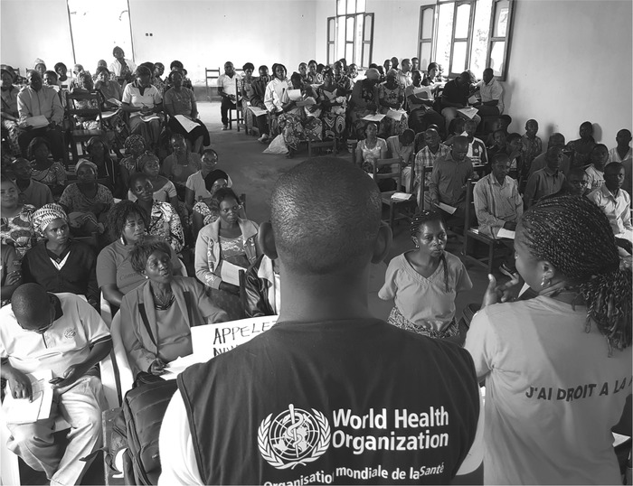 WHO–UNICEF training community relay networks in Beni, Democratic Republic of Congo on Ebola knowledge and effective measures to avoid disease.