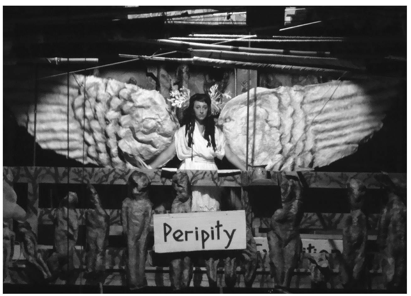 "Freud's ""discarded beliefs"" in the active power of objects came back not in the form of primitive culture but as avant-garde performance: Maryann Colella in Bread and Puppet Theater's Things Done in a Seeing Place, Glover, Vermont (2013). Photo courtesy of the author"