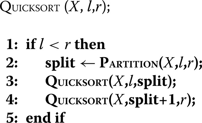 Pseudocode for quicksort. An array is sorted with the call Q